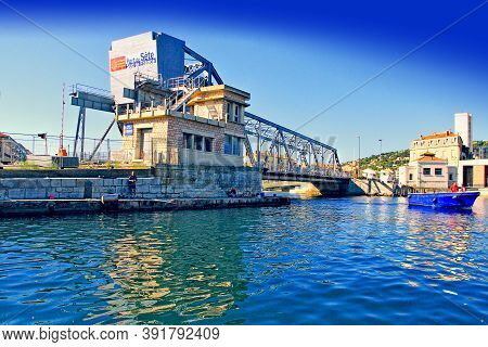 Sete, France - September 03, 2014:  Bridge In Sete -  Fascinating Small Town On The French Mediterra
