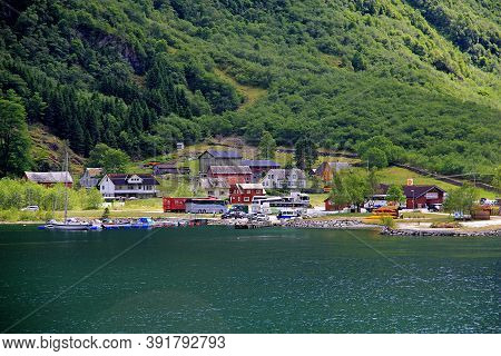 Sognefjord, Norway - 25 Jun 2012: The Small Village On Sognefjord, Norway