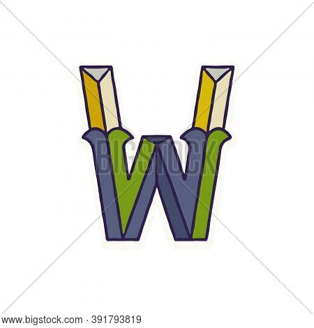W Letter Logo Faceted With Dim Colors. You Can Use It In Your Corporate Identity, Retro Emblem, Hera