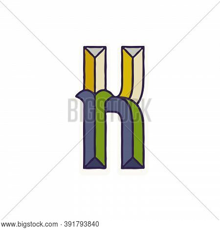 K Letter Logo Faceted With Dim Colors. You Can Use It In Your Corporate Identity, Retro Emblem, Hera