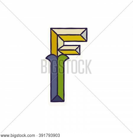 F Letter Logo Faceted With Dim Colors. You Can Use It In Your Corporate Identity, Retro Emblem, Hera