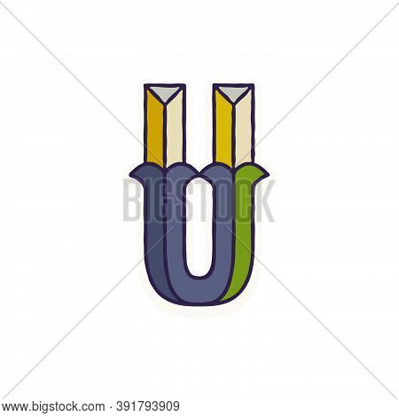 U Letter Logo Faceted With Dim Colors. You Can Use It In Your Corporate Identity, Retro Emblem, Hera