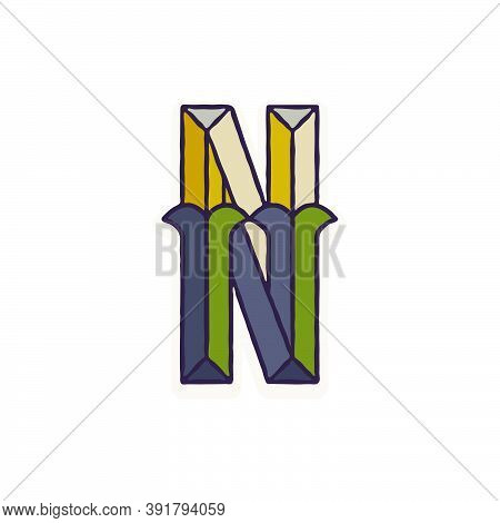 N Letter Logo Faceted With Dim Colors. You Can Use It In Your Corporate Identity, Retro Emblem, Hera