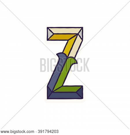 Z Letter Logo Faceted With Dim Colors. You Can Use It In Your Corporate Identity, Retro Emblem, Hera