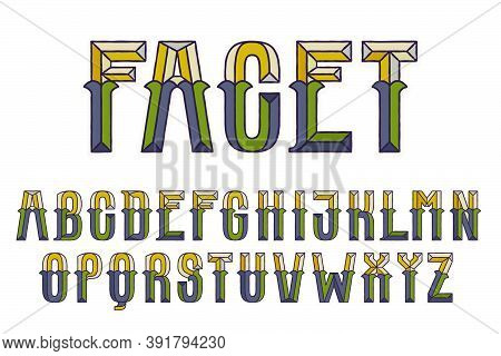 Faceted Alphabet With Dim Colors. You Can Use It In Your Corporate Identity, Retro Emblem, Heraldry