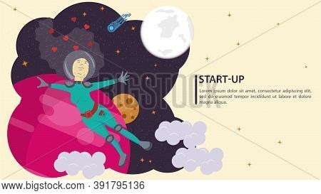 Girl In A Space Suit, In Outer Space In Weightlessness Flying With Arms Outstretched In Different Di