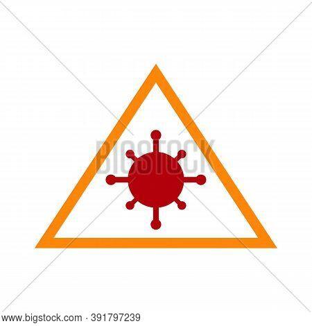 Raster Coronavirus Warning Flat Icon. Raster Pictogram Style Is A Flat Symbol Coronavirus Warning Ic