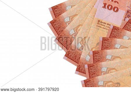 100 Sri Lankan Rupees Bills Lies Isolated On White Background With Copy Space. Rich Life Conceptual