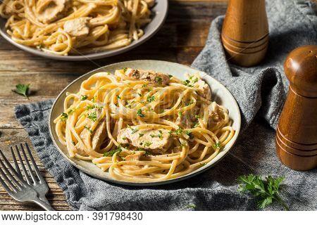 Homemade Chicken Fettuccine Alfredo Pasta