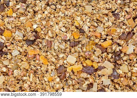 Organic Crunchy Homemade Granola Cereal With Oats And Berries. Oatmeal Granola Texture. Selective Fo