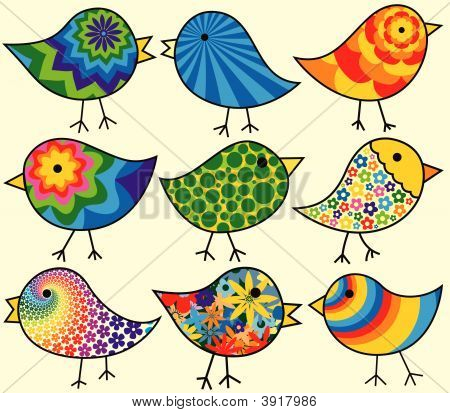 Nine Colorful Birds
