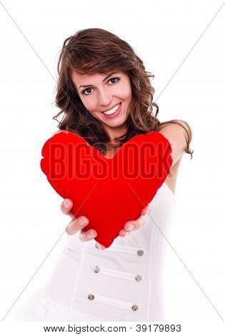Pretty Girl With Red Heart