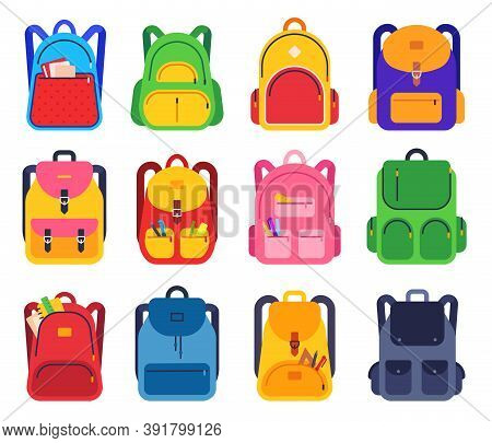 School Backpack. Color Schoolbags Zipper And Pockets With Stationery Supplies For Students, Rucksack