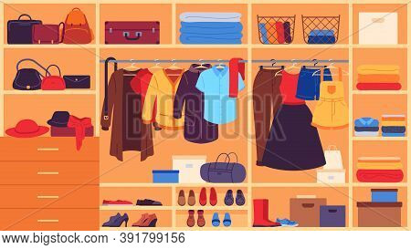 Wardrobe. Inner Space Closet, Shelves And Hangers With Clothes, Shoes And Accessories, Organization