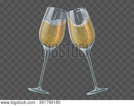 Two Champagne Glasses. Toast Of Wineglasses With Sparkling Transparent White Wine And Bubbles. Chris