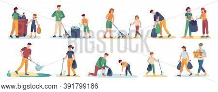 Volunteer Collects Trash. Men, Women And Children Cleaning Nature From Garbage Set. Isolated Vector