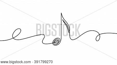 Continuous Line Music Note. Musical Symbol In One Linear Minimalist Style. Trendy Abstract Wave Melo