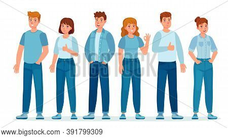 Group Of People In Jeans. Students In Casual Denim Clothes Standing Together. Young Women And Men. T