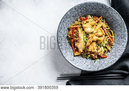 Stir-fry Glass Noodle With Chicken Fillet And Vegetables. White Background. Top View. Copy Space
