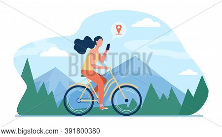 Woman Riding Bike By Mountains. Girl Cycling And Consulting Location App On Cell Flat Vector Illustr