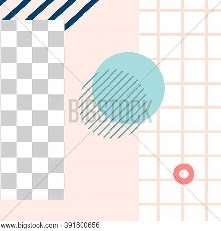 Memphis Style Post. Trendy Abstract Social Media Post Template. Vector Media Post With Geometry Elem