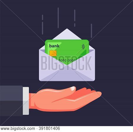Bank Card In An Envelope. Receive A Credit Card By Mail. Flat Vector Illustration.