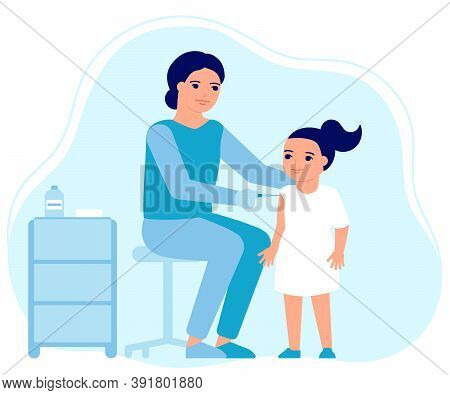 Child Girl Flu Vaccine Injections, Kid Vaccination. Doctor Help Immune System Health. Prevention, Tr