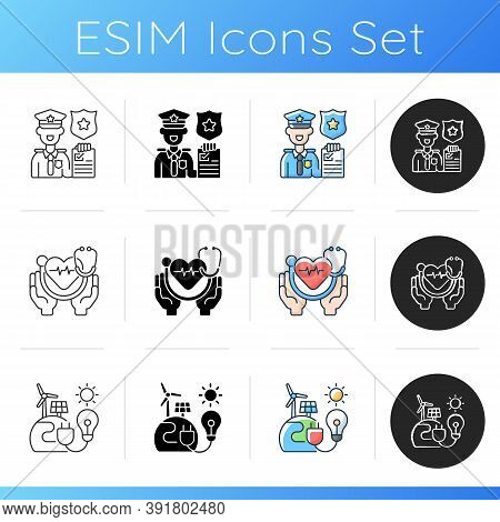 Essential Services Icons Set. Law Enforcement. Healthcare System. Renewable Energy. Preventing And M