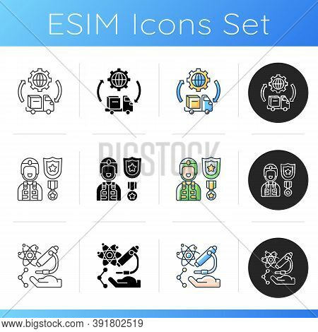 Routine Services Icons Set. Transportation And Logistics. Defence Industry. Science And Research. Mi