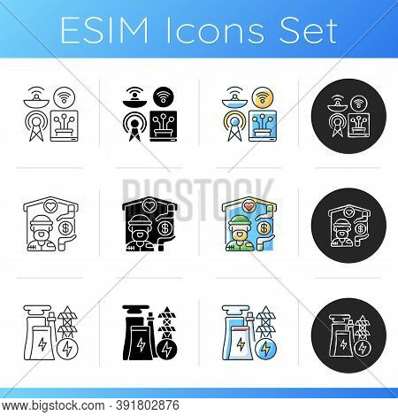 Fundamental Services Icons Set. Communications Infrastructure. Shelter Services. Electricity Industr