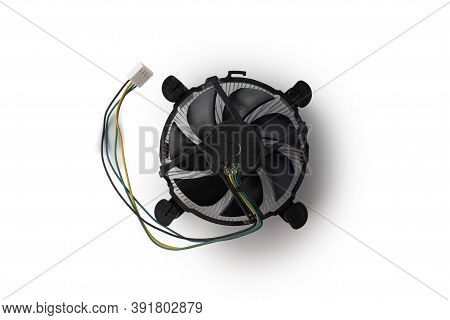 Cooling System For Cpu With Cooler Simple Isolated On White Background.