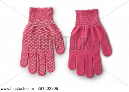 Glove Pvc Pink For Garden Isolated On White Background.