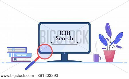 Job Searching Concept. Search For Jobs Online Using A Computer Application. Computer And Magnifying