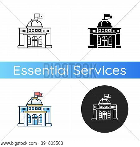 Government Icon. Authorities. Political Power. Legislature, Executive And Judiciary. Governmental Or