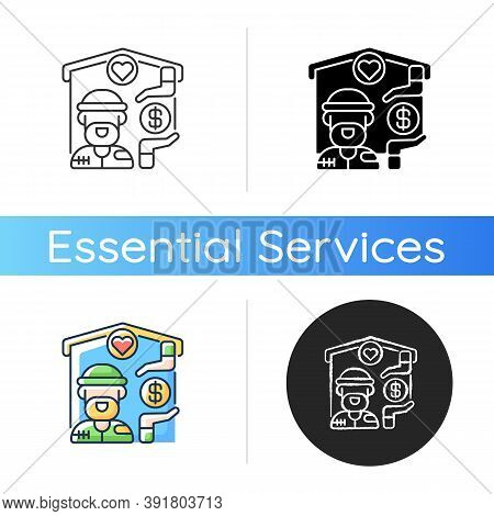 Shelter Services Icon. Safe Accommodation. Homeless Shelter. Emergency Placement. Housing And Inpati