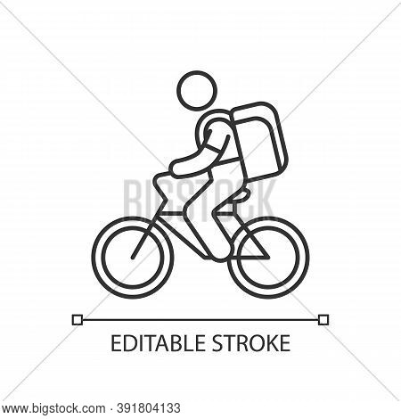 Food Delivery Person Linear Icon. Meal And Groceries Delivery. Restaurant Takeout. Thin Line Customi