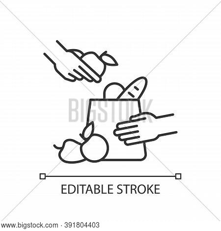 Grocery Bagger Linear Icon. Packer. Putting Groceries Into Shopping Bag. Assisting Cashier. Thin Lin