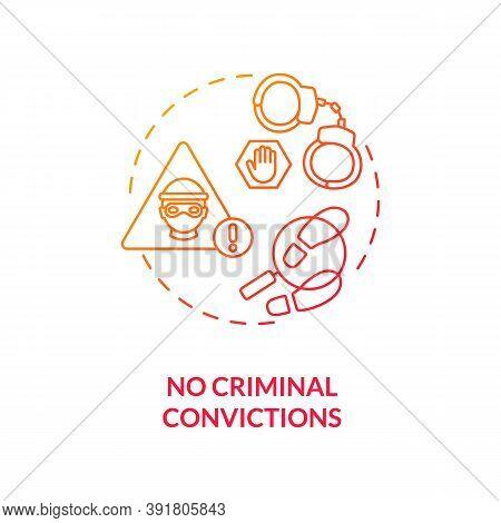No Criminal Convictions Concept Icon. Online Voting Requirement Idea Thin Line Illustration. Crimina
