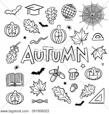 Autumn Coloring. Elements For Seasonal Calendar. Hand-drawn Doodle Objects Isolated On White Backgro
