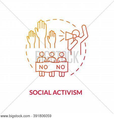 Social Activism Concept Icon. Social Change Benefit Idea Thin Line Illustration. Activist. Protest.