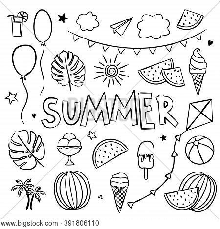 Summer Coloring. Elements For Seasonal Calendar. Hand-drawn Doodle Objects Isolated On White Backgro