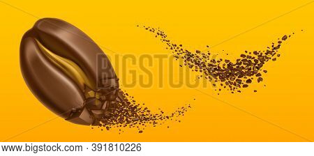 Explosion Of Coffee Bean And Ground Arabica Grains. Vector Realistic Illustration Of Shredded Roaste