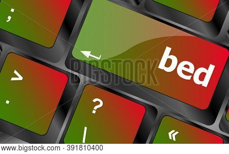 Bed Word On Keyboard Key, Notebook Computer Button