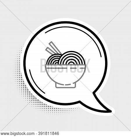 Line Asian Noodles In Bowl And Chopsticks Icon Isolated On Grey Background. Street Fast Food. Korean