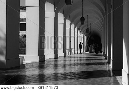Pasadena, Usa - 2015; Architectural Feature In Portico Of Pasadena City Hall In Mediterranean Reviva