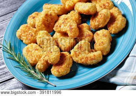 Easy Fast Food Dish Chicken Nuggets Of Chicken Breast Pieces Coated With Breadcrumbs Baked In The Ov