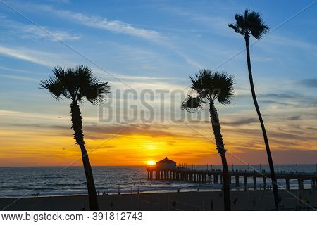 Three Tropical Palm Swaying In Evening Breeze And Pier On California Beach.