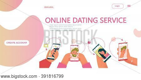 Online Dating Service Application Template. Concept For Landing Page On Social Media,dating Website