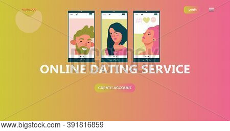 Portraits Beauty People On Mobile Screens. Online Dating Service Application Template. Concept For L