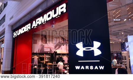Warsaw, Poland. 27 October 2020. Sign Under Armour. Company Signboard Under Armour.